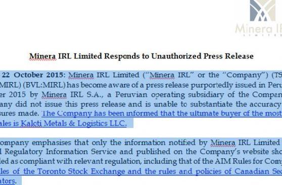 Venta de oro de Minera IRL desata nuevo cruce de acusaciones
