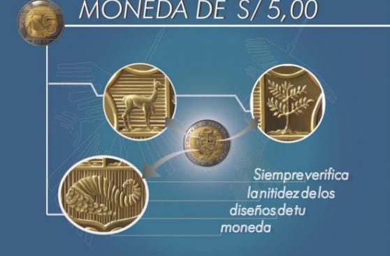 ¿Las monedas de S/.5 del 2015 son falsas? Aquí el BCR lo aclara