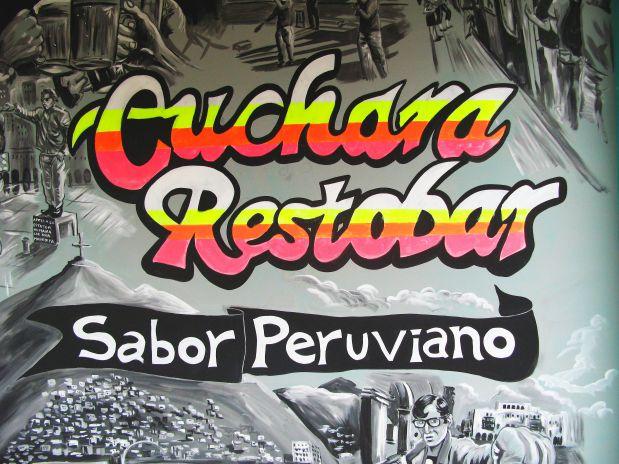 El mural que adorna la pared de Cuchara y otros elementos de su decoración están inspirados en la cultura popular. (Foto: Carina Barreda)