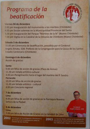 El programa de la beatificación.