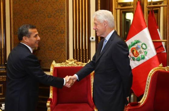 Ollanta Humala recibió a Bill Clinton en Palacio de Gobierno