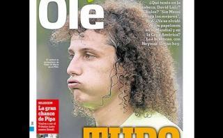 """""""Olé"""" provocó a David Luiz con esta portada y jugador respondió"""