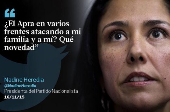 Nadine Heredia y Aurelio Pastor en los tuits destacados