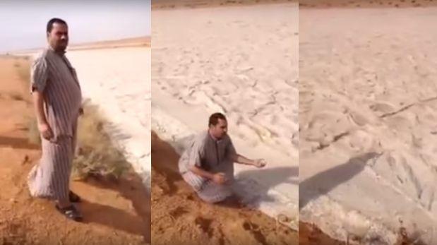 """En el desierto Rub al-Jali, en Oriente Medio este último mes se han registrado varios patrones climáticos inusuales en la zona, incluyendo la lluvia y el granizo.  No es la única zona en Oriente Medio que sufrió inundaciones. Recientemente, fuertes lluvias torrenciales y ciclones provocaron inundaciones en Egipto, Israel, Jordania y Arabia Saudita causando daños generalizados.  En el siguiente vídeo, grabado por lugareños, podemos ver """"un río de arena""""...Se supone que se trata de un fenómeno natural provocado por repentinas inundaciones en el lugar que formaron una mezcla de arena, granizo y otros materiales, dando forma a un torrente."""