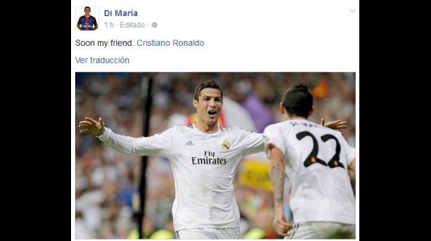 Ángel di María publicó esta imagen en su Facebook sobre Cristiano Ronaldo. (Foto: Facebook)