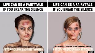 Famosas aparecen golpeadas en fotos para parar la violencia