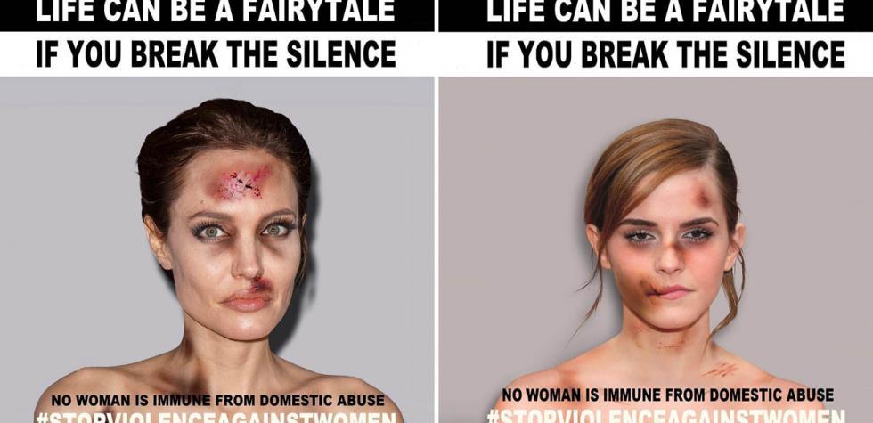 Campaña muestra a famosas golpeadas