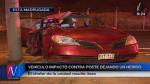 Costa Verde: auto que iba a velocidad se estrelló contra poste - Noticias de accidentes de transito