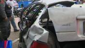 Corredor azul: choque de bus y auto deja tres heridos en Lince