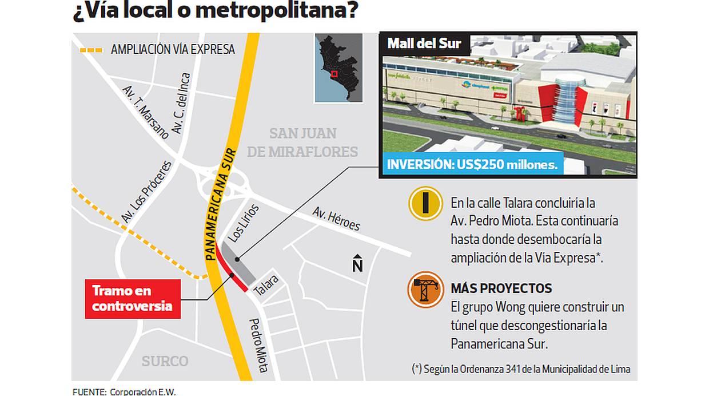 Este es el mapa de la zona en controversia entre la municipalidad de Lima y Corporación EW. (Fuente: Corporación EW)
