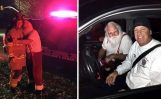 """Auto de """"Papá Noel"""" se incendió y casi deja de entregar regalos"""