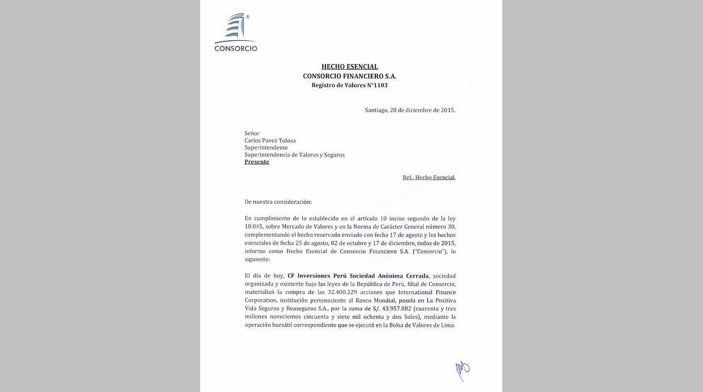 La Positiva. Hecho esencial reportado al regulador de Chile. (Foto: Difusión)