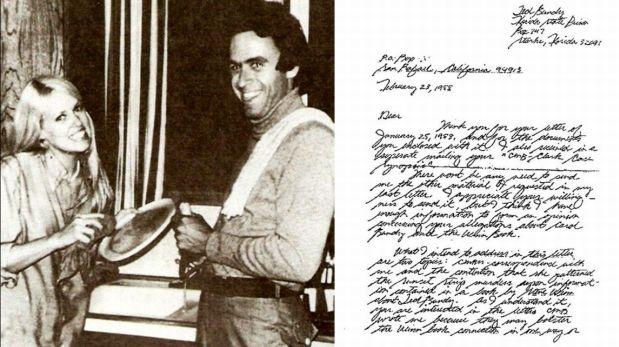 Stephanie Brooks y Ted Bundy. A la derecha, una de las cartas que le solía enviar Bundy.