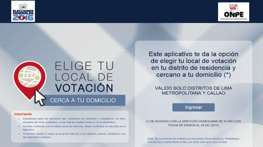 ONPE informó que los electores podrán escoger hasta tres centros de votación cercanos a la dirección que figura en su DNI.  Puedes acceder a la aplicación debe ingresar este enlace: http://eligetulocal.onpe.gob.pe/(ONPE)