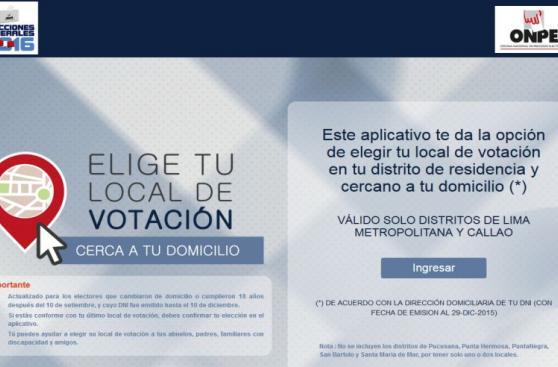 ONPE: Elige tu local de votación llegará a todo el Perú el 2018