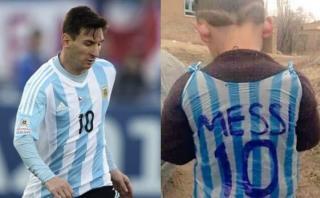 Conmovedor: niño iraquí usa bolsa como camiseta de Lionel Messi