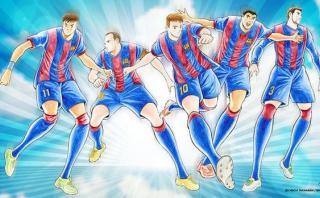 Messi y estrellas del Barcelona en versión 'Supercampeones'