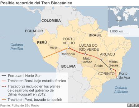 Una propuesta anterior del proyecto contemplaba una ruta que no pasaba por Bolivia.