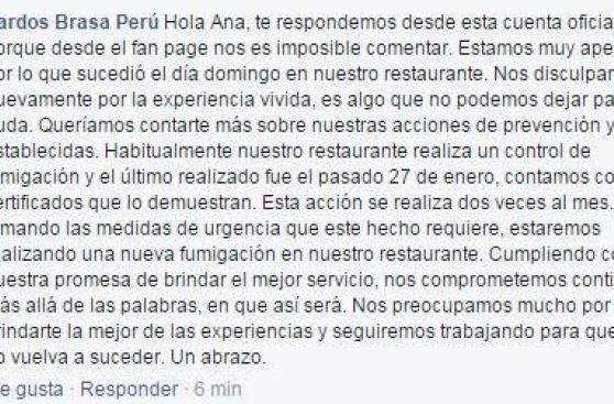 Pardos cierra local luego de que mujer halló cucaracha en plato