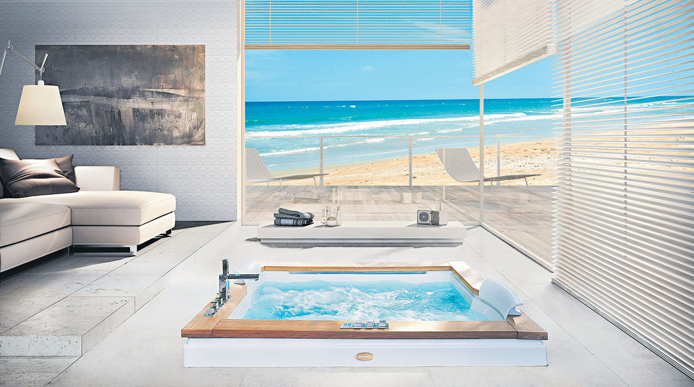 Baño En Tina Relajante:Aura Wood: Hecha en acrílico y reforzada en fibra de vidrioTiene