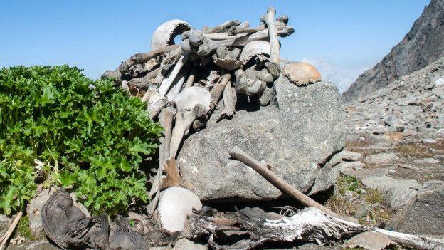 Nadie puede decir con seguridad por qué estos esqueletos están en el fondo del lago glacial. (Foto: Wikipedia)