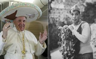 Papa va a México con sombrero charro y hablando de Cantinflas