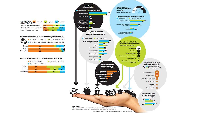 Radiografía de la demanda mype en el país.  El estudio revela que el 78% de las mypes tiene una antigüedad mayor a cinco años, el 27% tiene más de un local y 33% piensa comprar un auto nuevo. (Foto: El Comercio)