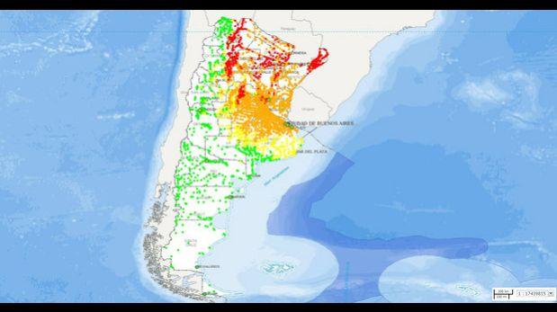 Imagen del mapa del zika 2016 elaborado por el Ministerio de Ciencia y Tecnología de Argentina. (Foto: MCyT)