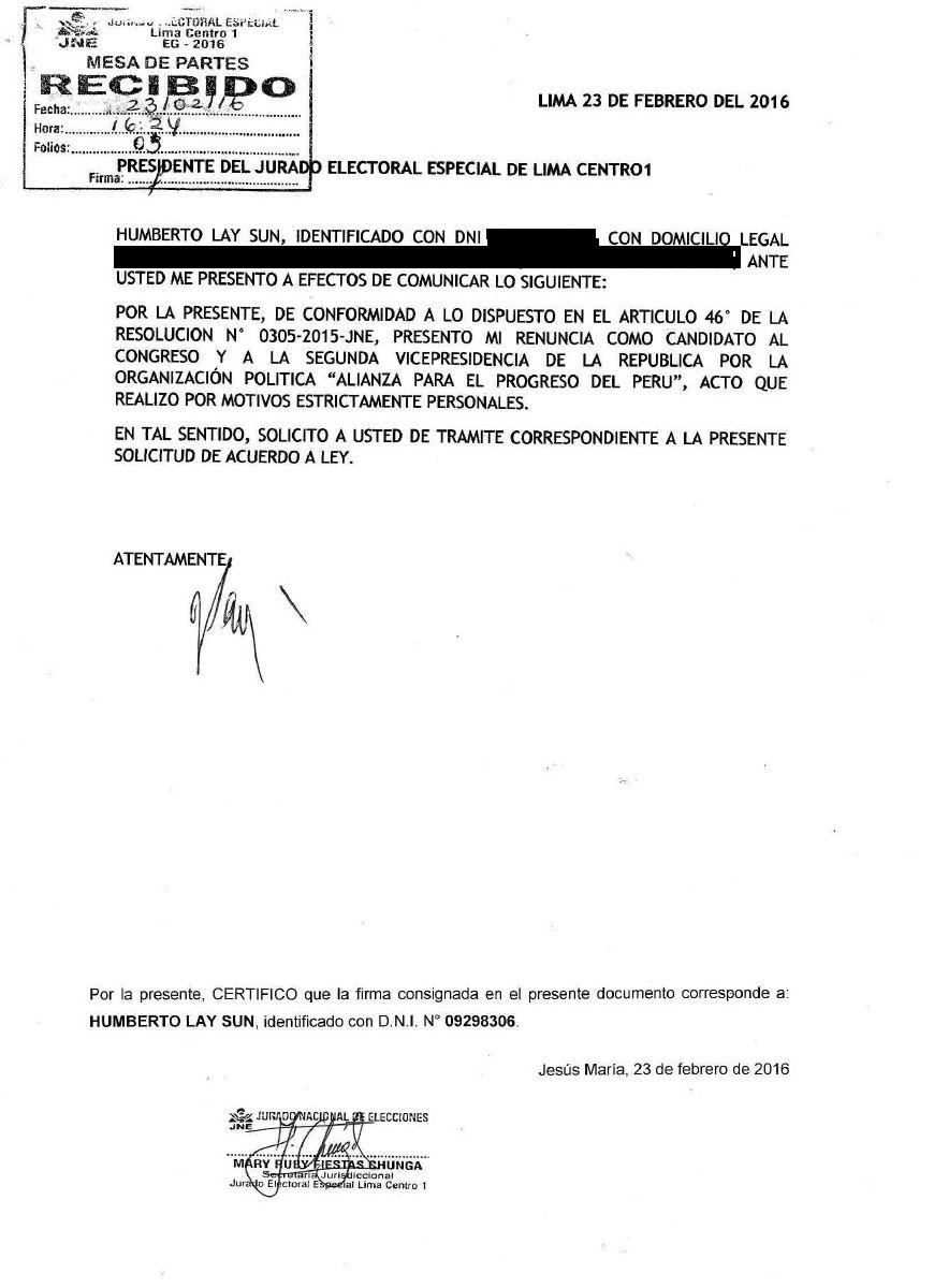[Foto] Humberto Lay renunció a la plancha presidencial de César Acuña
