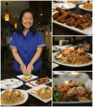 Los platos, de arriba hacia abajo, que aparecen en la imagen son: alitas peek gai tod, arroz kao pad tom yam y ensalada som tam. (Foto: Consuelo Vargas / El Comercio).