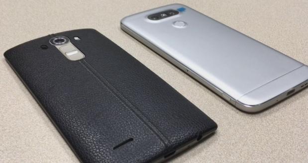 El salto que ha dado LG entre el G4 (izquierda) y el nuevo G5 es muy evidente. ¿Será suficiente? (Foto: Bruno Ortiz B.)