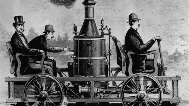 Uno de los primeros autos de vapor estadounidenses, circa1860. (Foto: Getty)