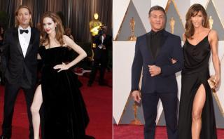 Oscar: esposa de Stallone llegó con vestido a lo Angelina Jolie
