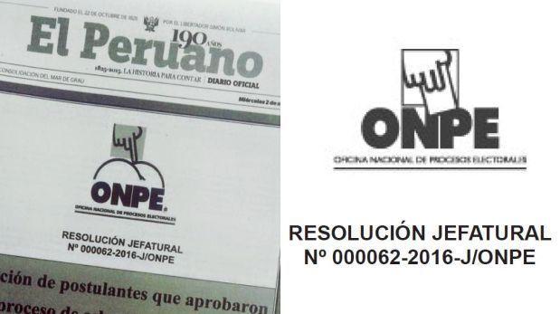 """ONPE cree que alteración de logo en """"El Peruano"""" fue deliberada"""
