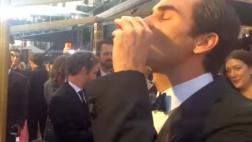 Federer se tomó un shot de tequila en los Oscar y así reaccionó