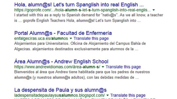 En español, desde hace un tiempo, hay quienes usan @ para evitar al lenguaje sexista. (Foto: BBC)