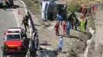 Puno: cinco muertos tras volcadura de bus desde Tacna - Noticias de vuelco