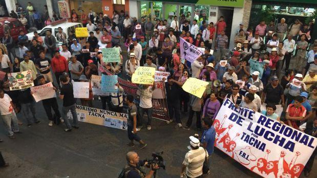 Manifestantes protestaron contra Keiko Fujimori en Tacna