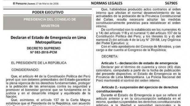 Twitter estado de emergencia en lima mininter inform for Decreto ministerio del interior