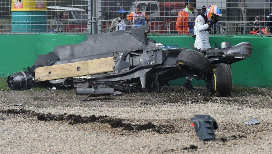 Chatarra: así quedó el auto de Fernando Alonso tras accidente