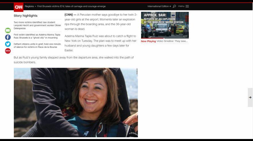 La historia de peruana fallecida en Bruselas conmueve al mundo ... 1fa4c8e310e