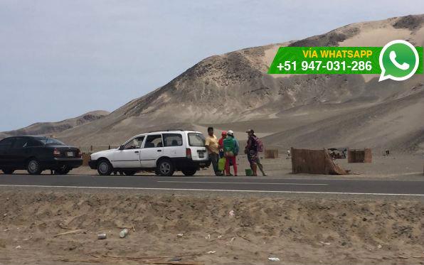 Invasiones en la Panamericana Norte, entre Chimbote y Trujillo (Foto: WhatsApp El Comercio)