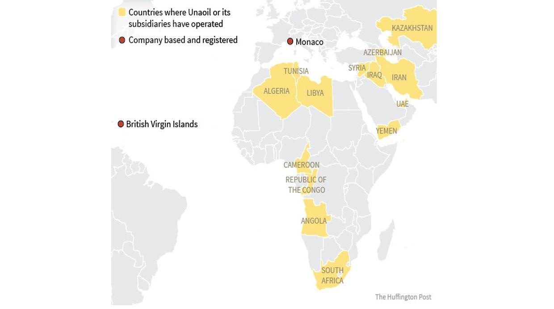 Los países que están resaltados en amarillo son aquellos donde Unaoil o sus subsidiarias han operado. (Captura: Huffington Post )