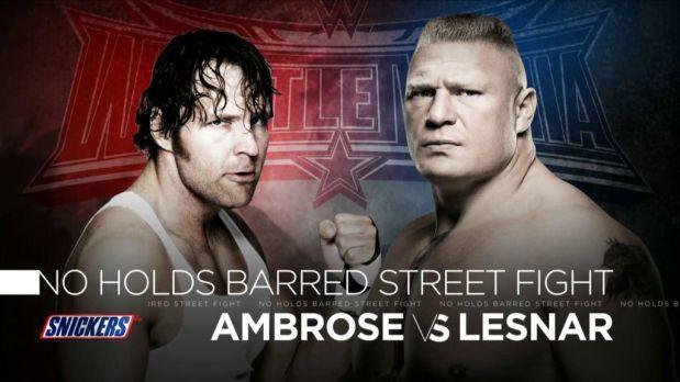 Dean Ambrose y Brock LEsnar se enfrentan en una pelea sin restricciones en WWE Wrestlemania 32. (WWE)