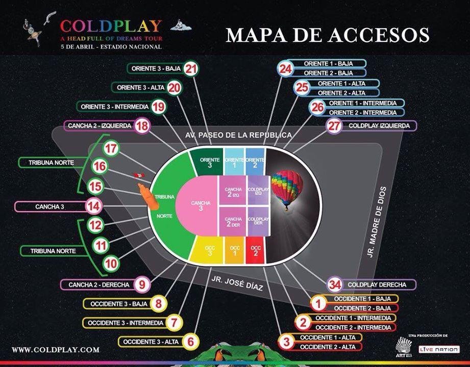 FOTO: mapa del show de Coldplay en Lima. (Fuente: Artes)