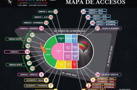 Coldplay en lima lo que debes tener en cuenta para el for Puerta 27 estadio nacional