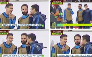 James Rodríguez es captado riéndose mientras el Madrid perdía