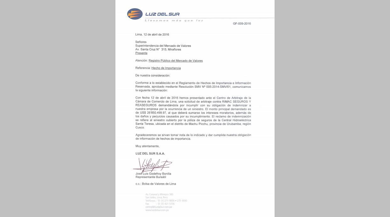 Documento que presentó Luz del Sur ante la SMV al reportar el pedido de arbitraje contra Rímac Seguros. (Foto: SMV)