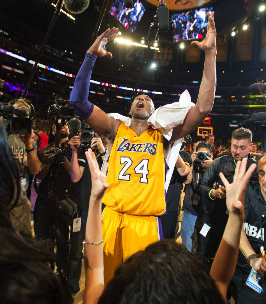 Los Angeles Lakers  forward Kobe Bryant reacts after an NBA basketball game  against the Utah 458bc6cdddd