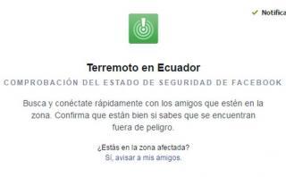 Facebook activó Security Check por terremoto de Ecuador